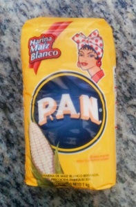 Harina pan translates as bread flour.  This is the only brand in Venezuela.