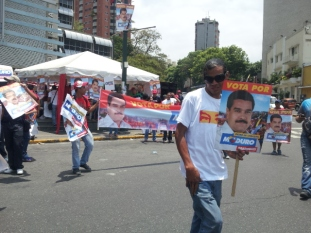 Chavistas showing their support for Maduro.